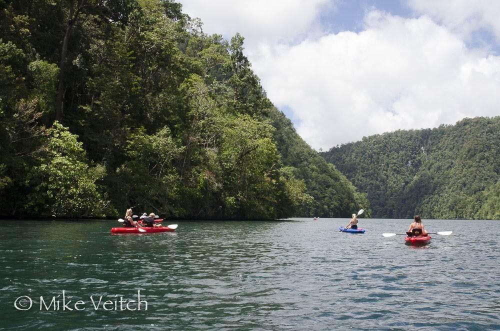 Kayaking in Cenderawasih Bay, photo by Mike Veitch