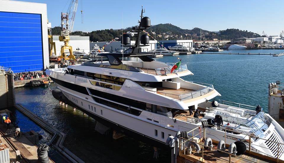 The launch of the superyacht 'Seven Sins'.