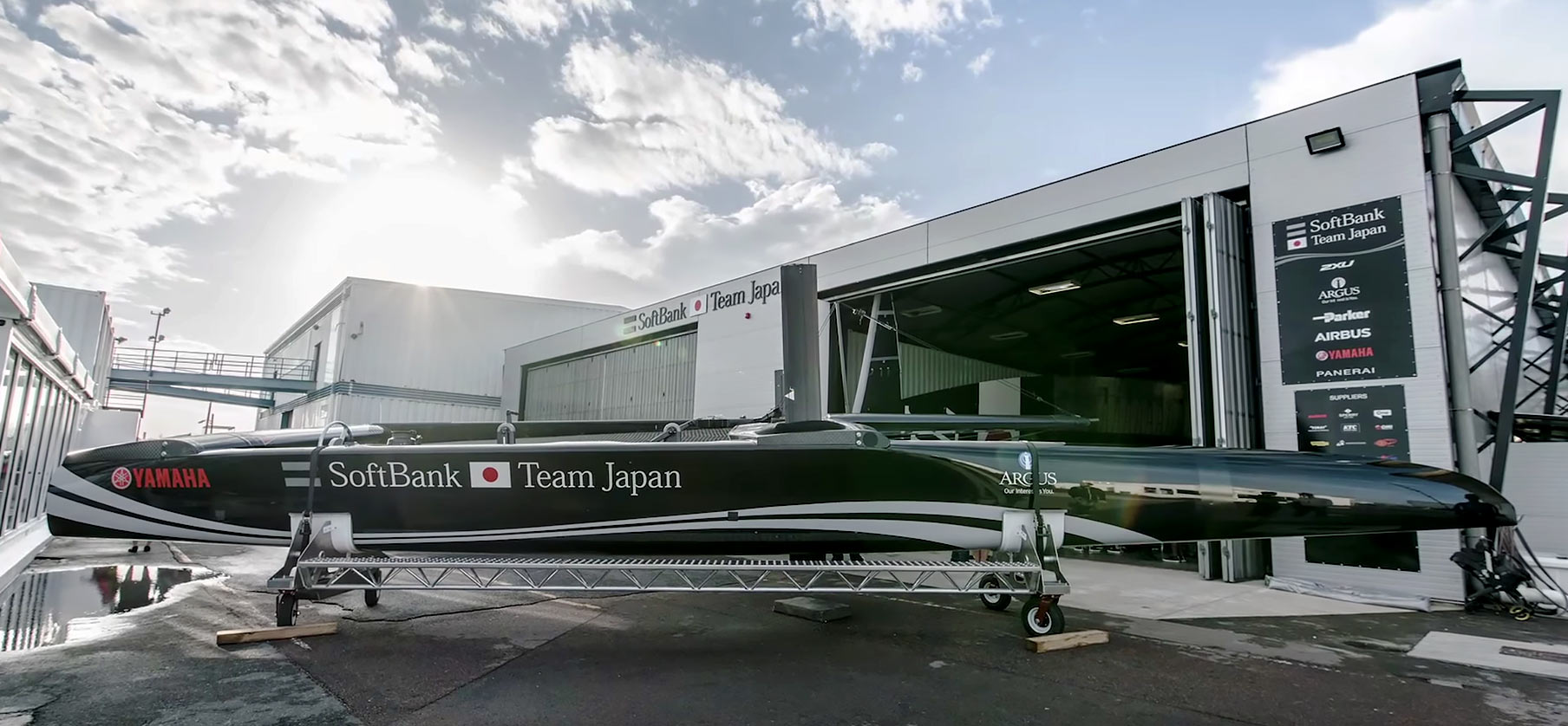 "SoftBank Team Japan launched their America's Cup Class boat in a traditional Japanese ceremony at the team's base in Bermuda. The boat was christened ""Hikari"" which means 'flash of light' in Japanese. February 25, 2017."