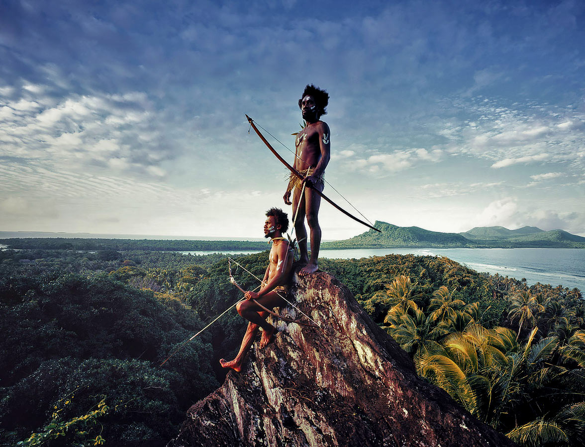 Tribemen on Mountain in Vanuatu.