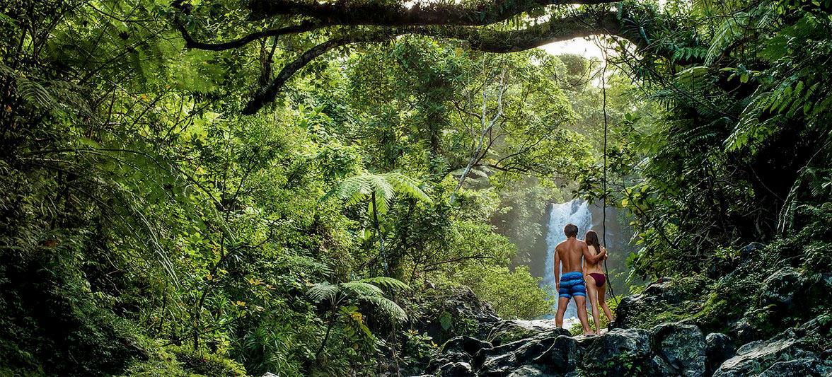 Waterfall, Fiji via Seal Superyachts.