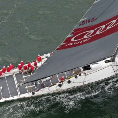 Wild Oats XI crosses the line in the 2017 Land Rover Sydney Gold Coast Yacht Race.