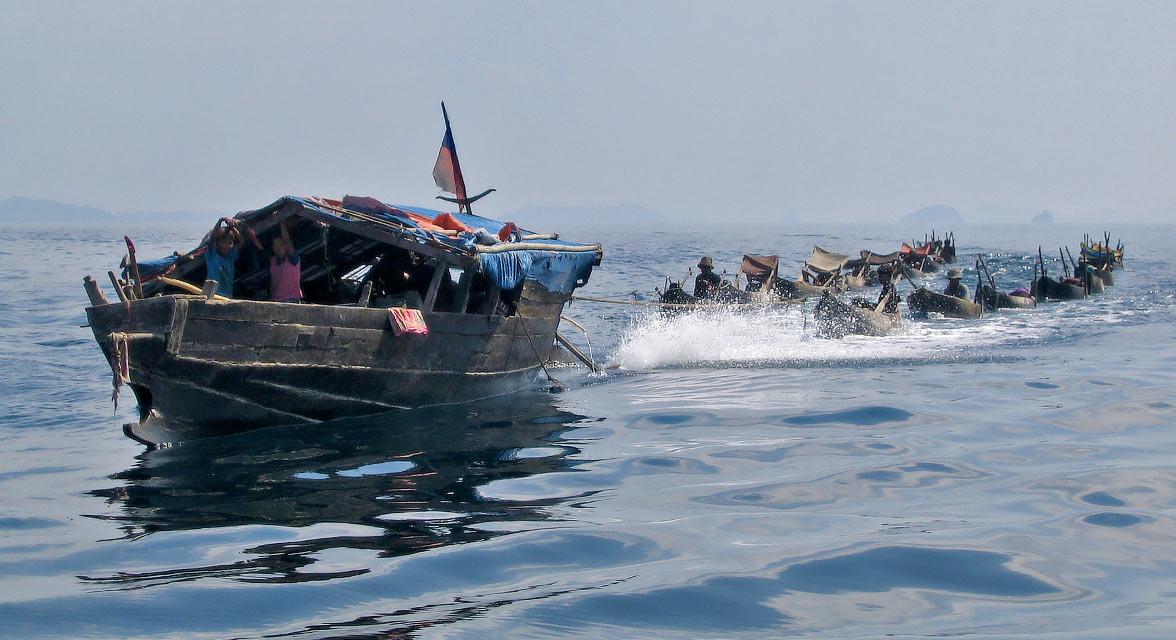 Moken mothership and boats of Myanmar.