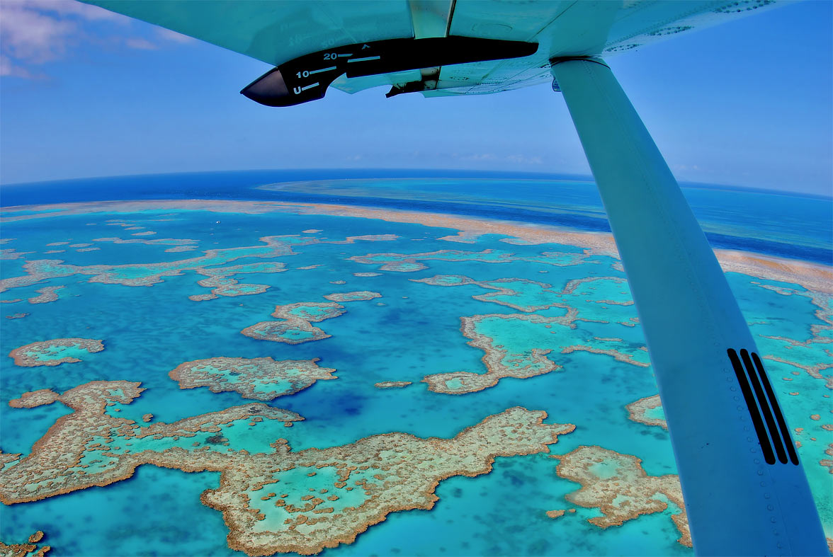 Aerial view of the Whitsundays reef.