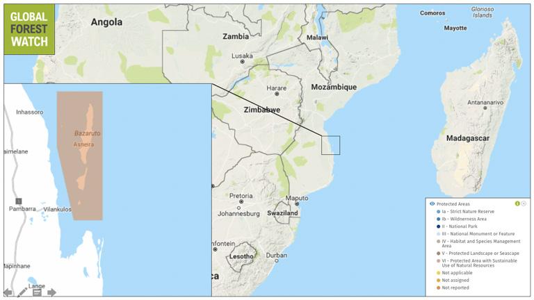 Bazaruto map of marine reserve, Mozambique.